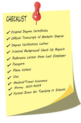 Teach Abroad TEFL Checklist